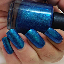 Load image into Gallery viewer, the expanse, multi chrome aqua blue purple polish, micro flakies, deep violet, lime gold shreds, metallic blue micro flakes, indie polish, swamp gloss
