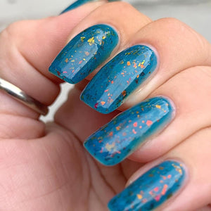 halloween, michael myers, swamp gloss, nail polish, teal blue, red gold green flakes, indie polish,