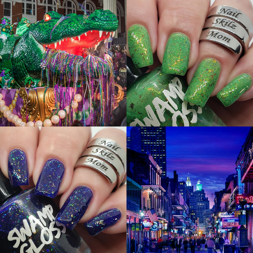mardi gras, nail polish, swamp gloss, nail skilz mom, jelly, purple, green, flakie,