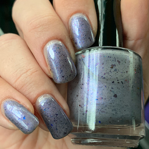 john wick, swamp gloss, indie polish, thermal polish, multichrome flakes, black, blue, purple,