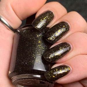 new orleans saints black crelly polish, gold green crystal chameleon flakes, scattered gold holo, indie polish, swamp gloss nail polish