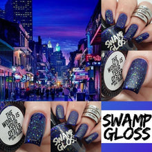 Load image into Gallery viewer, mardi gras, nail polish, swamp gloss, nail skilz mom, jelly, purple,, flakie,