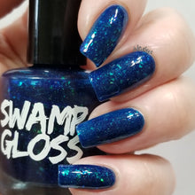 Load image into Gallery viewer, brooklyn 99 nail polish, blue, jelly, crystal chameleon, colorshift, flakie, swamp gloss
