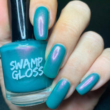 Load image into Gallery viewer, blue pink shimmer polish, black mirror, pink gold shimmer, aqua teal polish, nosedive, shifting shimmer