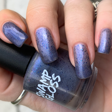 Load image into Gallery viewer, multichrome blue flake polish, inspired by the expanse, blue metallic micro flakes, deep violet micro flakies,