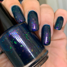 Load image into Gallery viewer, barry nail polish, flakie polish, jelly polish, fandom polish, darkened teal jelly, pink hold green, purple red gold, swamp gloss, indie polish, crystal chameleon, red gold green