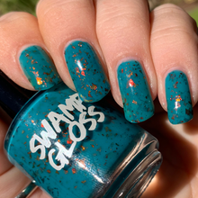 Load image into Gallery viewer, halloween, michael myers, swamp gloss, nail polish, teal blue, red gold green flakes, indie polish,