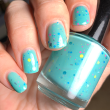 Load image into Gallery viewer, teal nail polish, tiffany blue indie polish, crelly, teal crelly, royal tenenbaums polish, glitter mix, swamp gloss, fandom nail polish, pastel polish