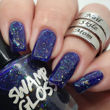 Load image into Gallery viewer, mardi gras, nail polish, swamp gloss, nail skilz mom, jelly, purple, flakie,
