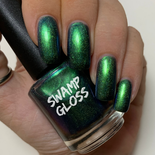 green blue shifting chameleon nail polish, inspired by Monster's Inc. Holographic sparkling UCC.