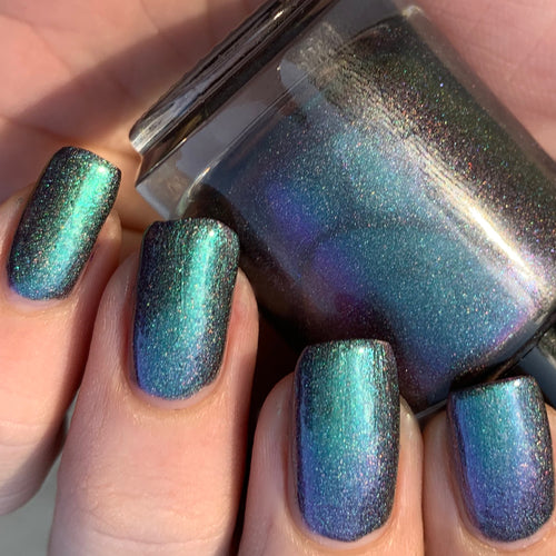 indie polish, swamp gloss, multichrome, holographic, green, purple, chamleon