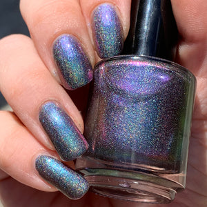 indie polish, swamp gloss, multichrome, holographic, green, purple, linear