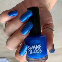Load image into Gallery viewer, custom blue flakie nail polish with blue metallic micro flakes, deep violet micro flakes and aqua sparks