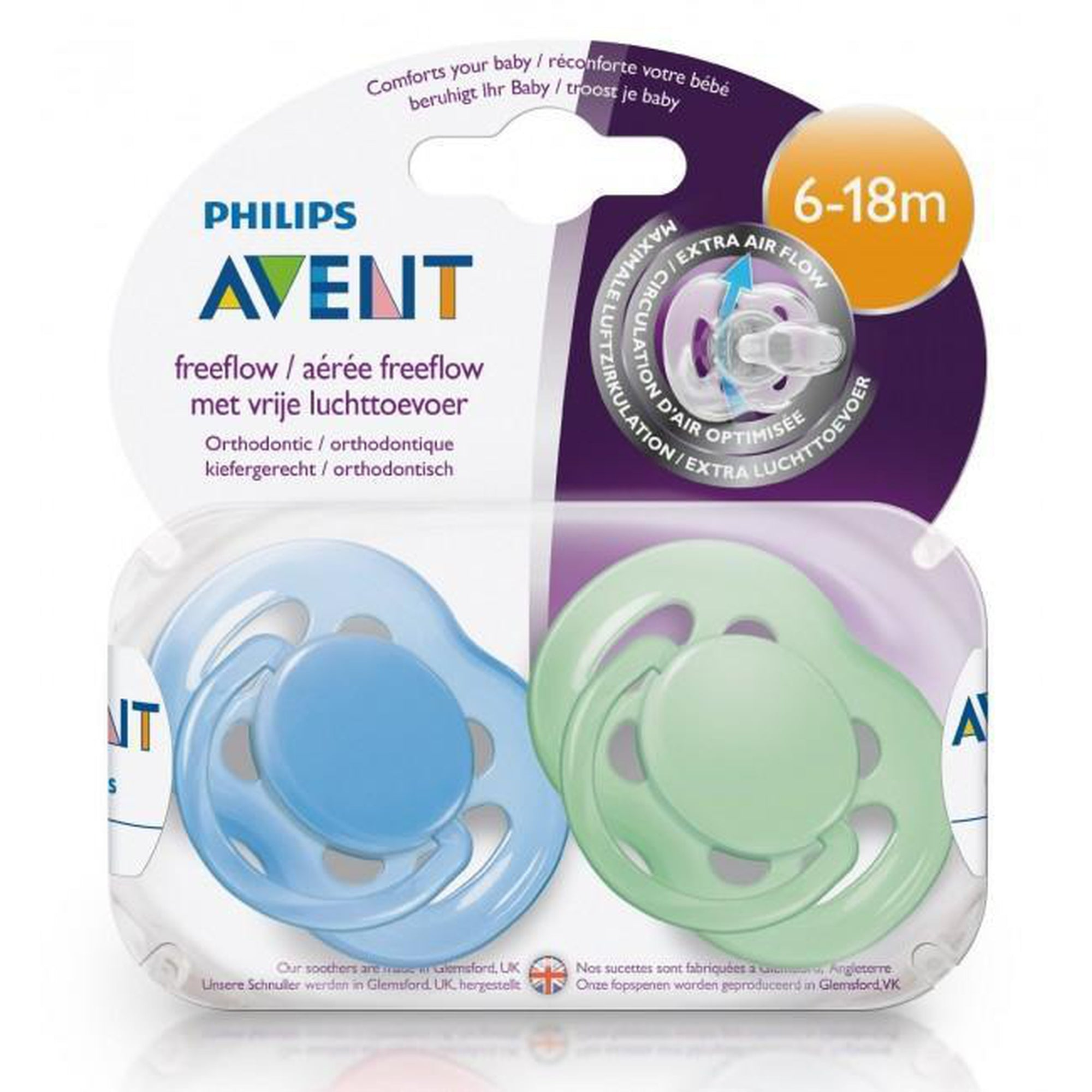 Avent Free Flow Orthodontic Pacifier 6-18M Classic-Pacifier-Mother and Baby Shop Kenya's #1 Online Baby Shop