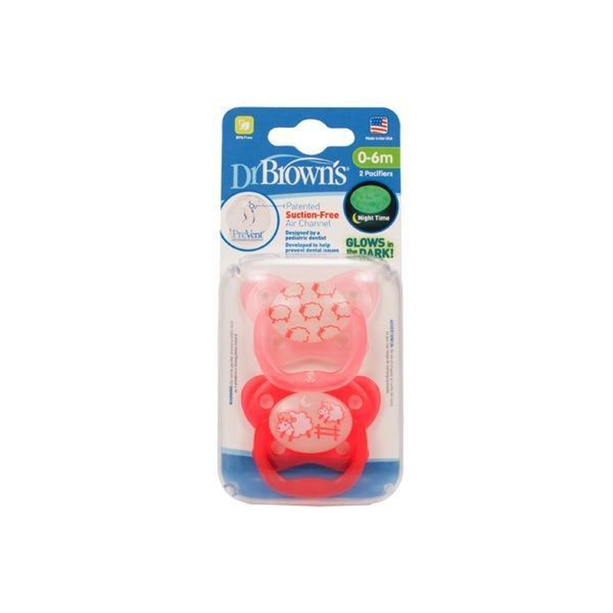 Dr. Brown's PreVent Glow in the Dark BUTTERFLY SHIELD Pacifier - Stage 1 * 0-6M - 2-Pack-Pacifier-Mother and Baby Shop Kenya's #1 Online Baby Shop