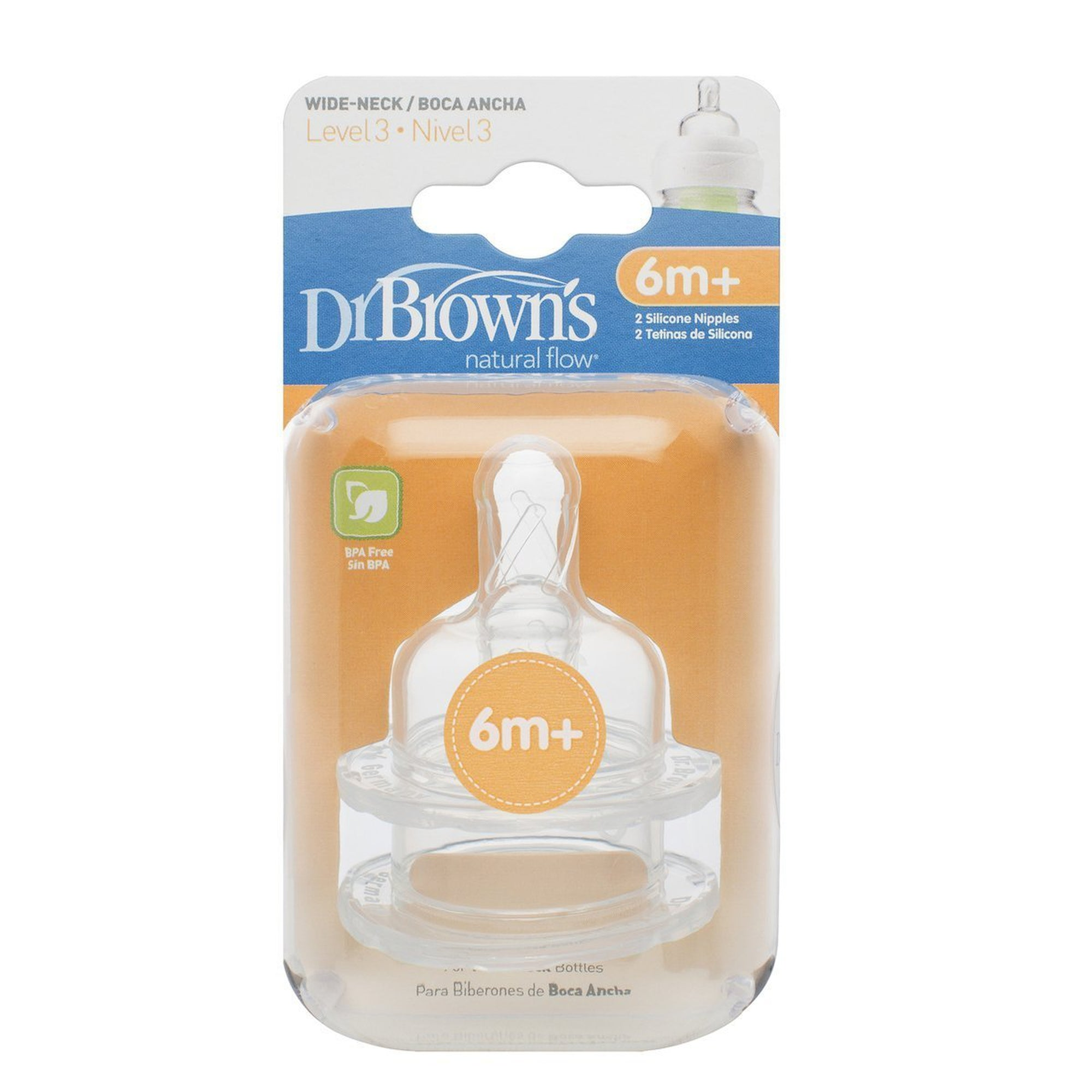 Dr. Brown's Wide Neck Options Nipple Twin Pack Level 3 (6M+)-Teat-Mother and Baby Shop Kenya's #1 Online Baby Shop