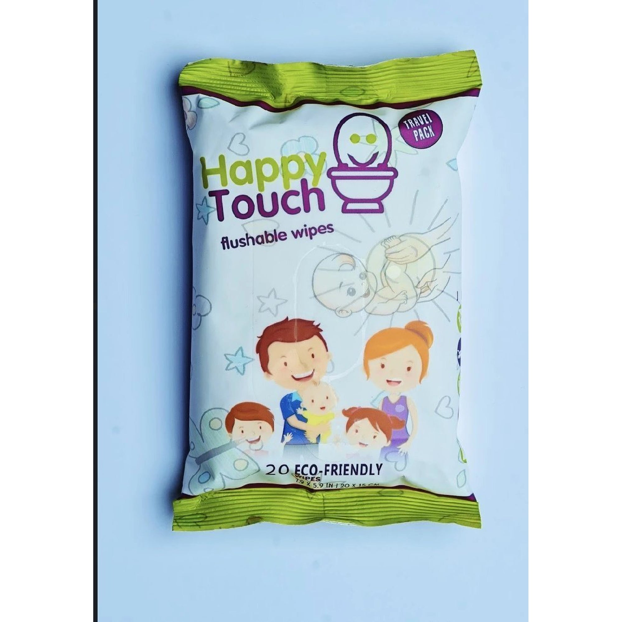 Happy Touch Flushable Wipes 20s (Aloe Vera)-Wipes-Mother and Baby Shop Kenya's #1 Online Baby Shop