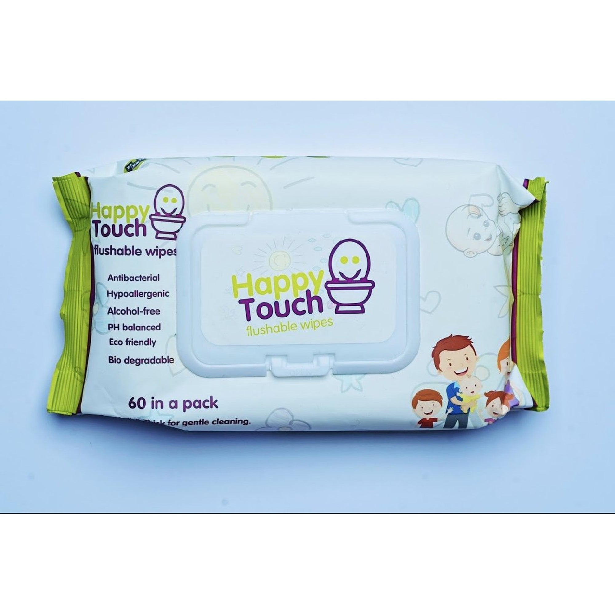 Happy Touch Flushable Wipes 60s (Aloe Vera)-Wipes-Mother and Baby Shop Kenya's #1 Online Baby Shop
