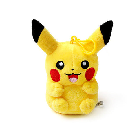 "Pokemon Pikachu Genuine Plush Rag Bag Charm Doll with Hook 5.1"" Cute Design"