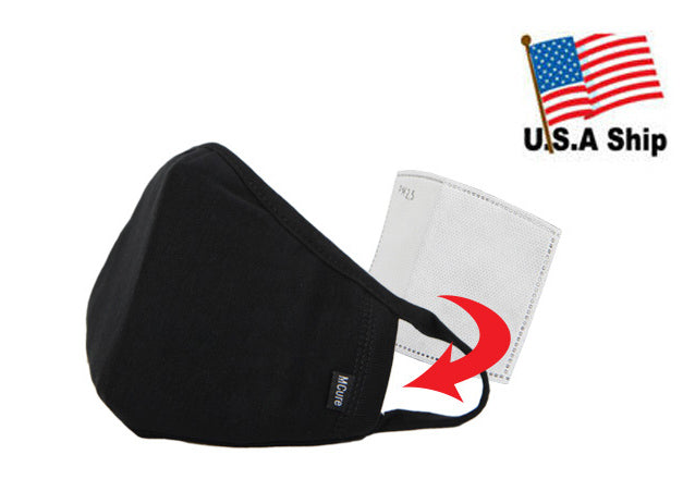 3D Face Mask with Filter Pocket / Black or White / 100% Cotton / Reusable / Washable 1 Filter Included