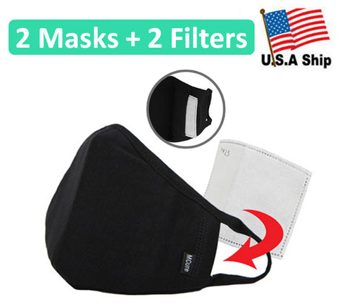 2 Pack 3D Face Mask with Filter Pocket / 100% Cotton / Reusable / Washable Filters Included