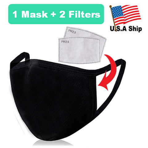 3D Face Mask with Filter Pocket / Black / 100% Organic Cotton / Reusable / Washable 2 Filters Included