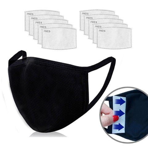 3D Face Mask with Filter Pocket / Black / 100% Organic Cotton / Reusable / Washable 10 Filters Included