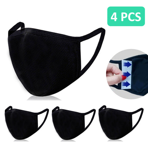 4PCS 3D Face Mask with Filter Pocket / 100% Organic Cotton / Reusable / Washable