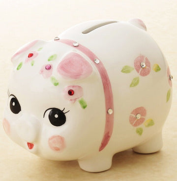 Ornament Crystal Piggy Bank Pink