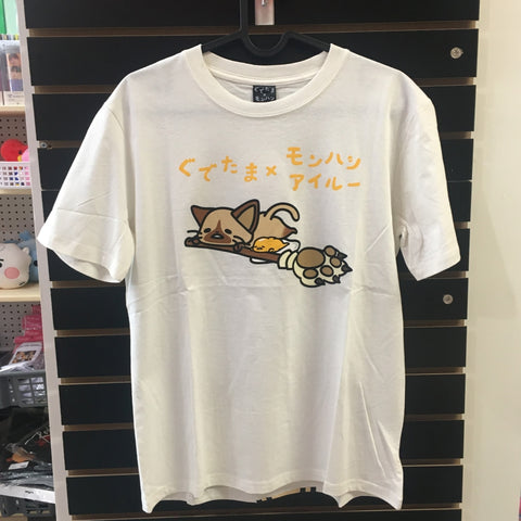 Gudetama and Cat Off-White Shirt