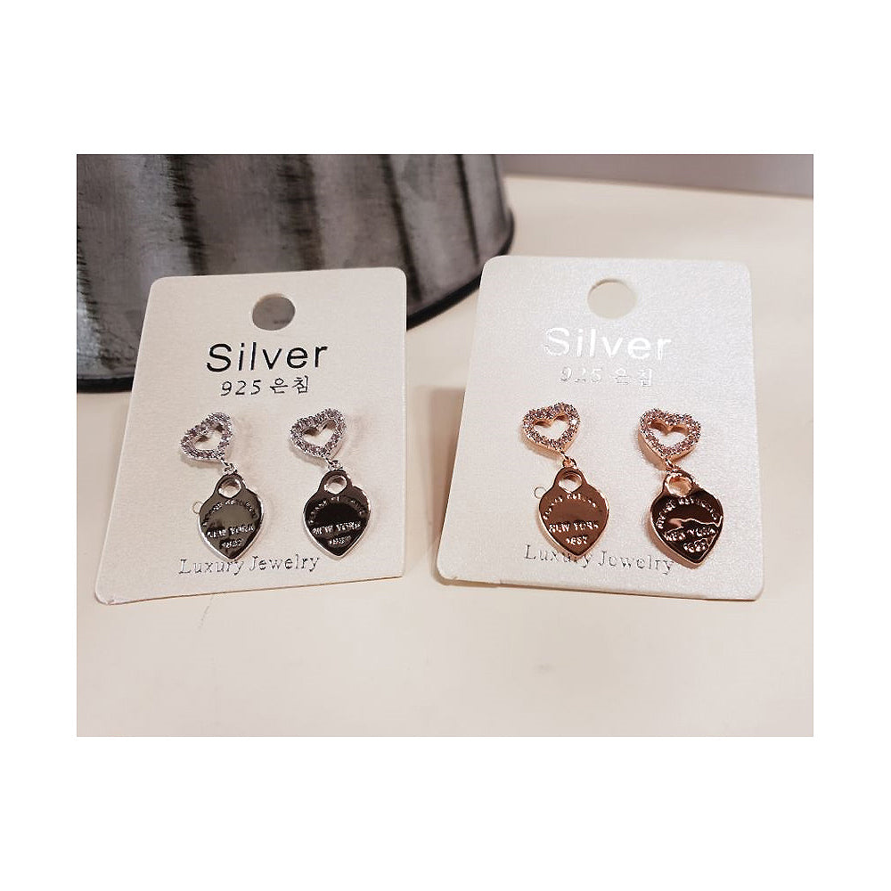 [SILVER MIX] Loving You Heart Earring (2 COLORS)