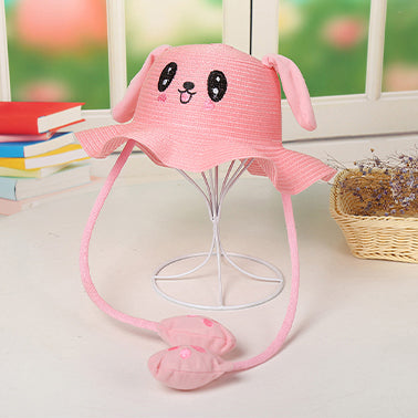 Rabbit Cap Hat Sun Cute Outdoor Protection Hat with Big Moveable Ears Pink