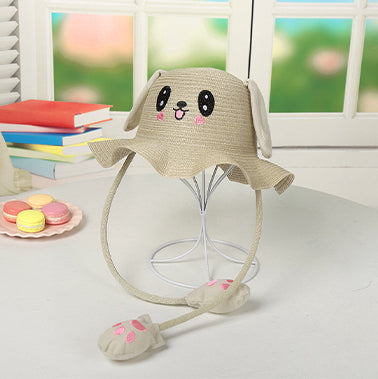 Rabbit Cap Hat Sun Cute Outdoor Protection Hat with Big Moveable Ears Beige