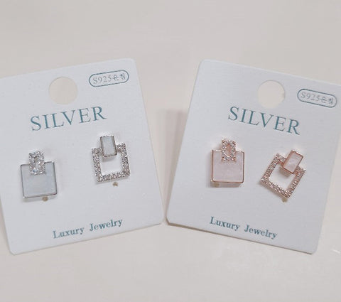 [SILVER MIX] Zage Square Earring ( 2 COLOR)