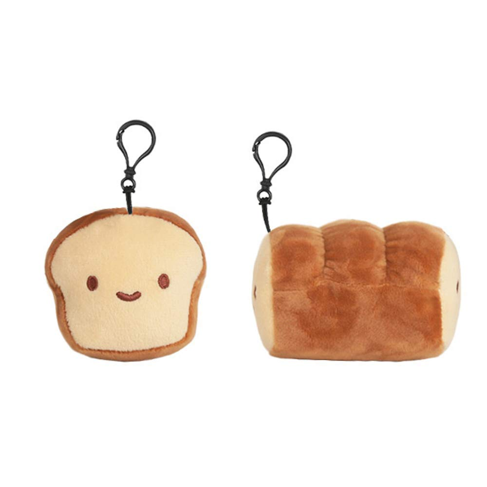 "Cotton Food 4"" Unsliced Bread 2 Faces Plush Key Chain Accessory"