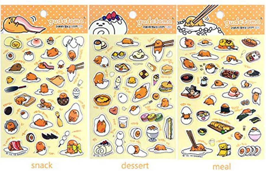 sanrio-gudetama-lazy-egg-3d-puffy-sticker-3pcs-1-set