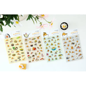 Sanrio Gudetama Lazy Egg Transparent Sticker : 4pcs 1 Set
