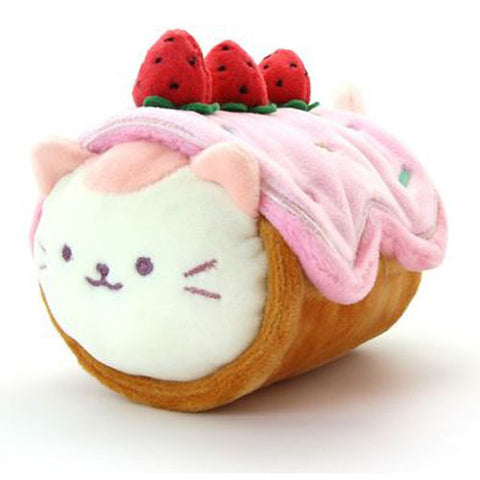 Anirollz - Kittiroll Plush w/ Strawberry Roll Cake Blanket (Small)
