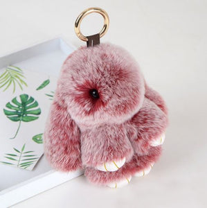 Rex Fur Rabbit Keychain Bunny Handbag Decoration