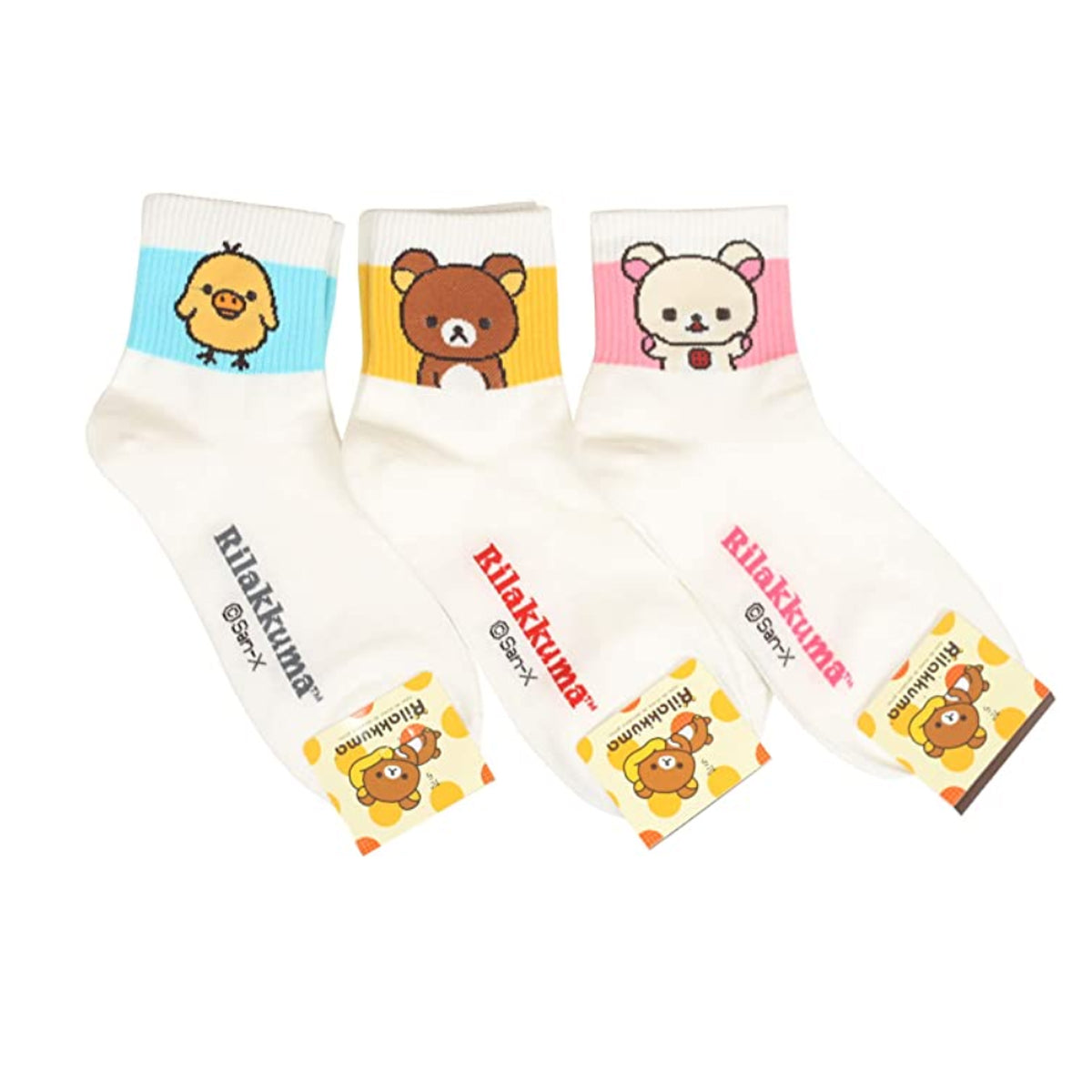 Womens Rilakkuma Cartoon Novelty Socks 3 Pairs 1 Set