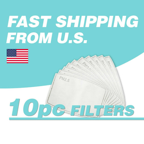 PM2.5 Activated Carbon Filter 10 PACK Replacement for Face Mask