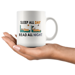 """Read All Night""11 oz White Ceramic Mug"