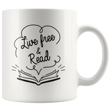 """Live Free & Read""11 oz White Ceramic Mug"