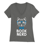 """Book Nerd"" Womens V-Neck Super Soft T-Shirt"