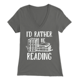 """I'd Rather Be Reading"" Womens V-Neck Super Soft T-Shirt"