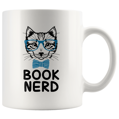 """Book Nerd""11 oz White Ceramic Mug"