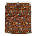 Brown bookish pattern bedding