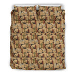 Light Brown Bookish Pattern Bedding