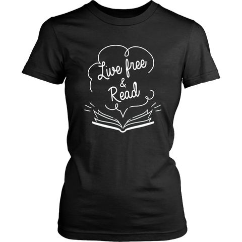 """Live Free & Read""Womens Fitted T-Shirt"