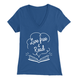 """Live Free & Read"" Womens V-Neck Super Soft T-Shirt"